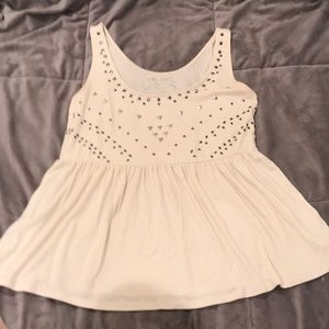 Studded Cream Peplum Top